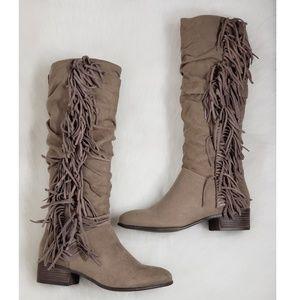 Madden Boho Chic Taupe Round Toe Fringe Knee Boots